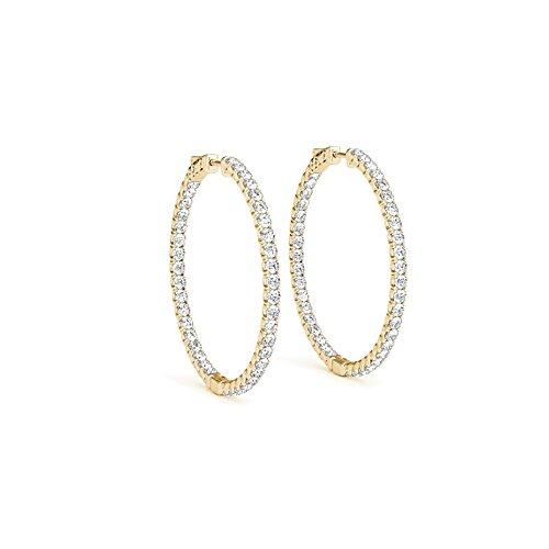 Inside Out Diamond Hoop Earrings for Women in 14K Yellow Gold 0.5 CT TDW - April Birthday Gift (Diamond Hoop Ohrringe-inside Out)