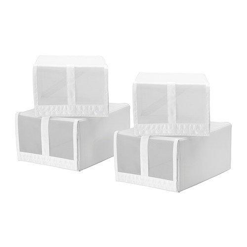 Ikea Skubb - Scatola per scarpe, confezione da 4 pezzi, 22 x 34 x 16 cm, colore: bianco