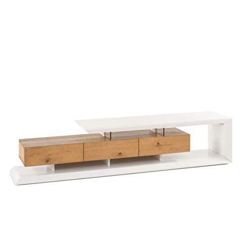 Riess Ambiente Modernes TV-Lowboard EMELA 198cm Board in edelmatt weiß Schrank Asteiche massiv