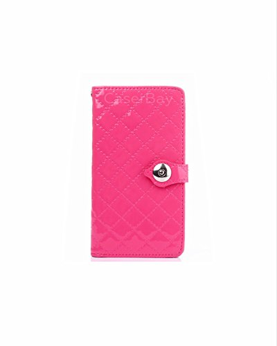 [caserbay] iPhone 7 Plus 14 cm Magnetic Flip Phone Fall Premium PU Leder Folio Ständer Wallet Fall Rugged Diamond Lattice Plaid Patent Leder Card/Cash Slots, Hot Pink for iPhone 7 Plus 5.5