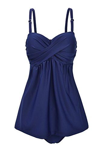 Aidonger Damen Bikini Plus Size Tankini Bauchweg, M-4XL (Bademode Schwangere Frauen)