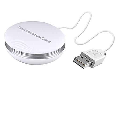 Ultraschall-Kontaktlinsen-Reiniger, JanTeel Household Mini-Kontaktlinsen-Etui Automatische Reinigungsmaschine, wiederaufladbare, schnelle Vibration Sonic Elektronische Waschgeräte (Weiß)