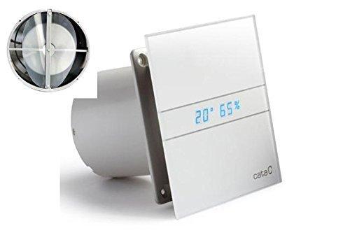 ECO / LEISE / MODERN / Ventilator / Lüfter / CATA E-120 GTH / Timer / Feuchtigkeitsregulierung / Hydrosensor LED – Display / mit Rückschlagventil / Kugellager / Milch Glasfront / energiesparend / EU Markenqualität seit 1947