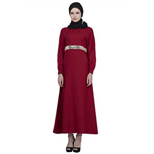 Frauen Arabien Kostüm Saudi - QinMM M-Muslim Damen Sequins Cardigan Long Sleeve - Saudi-arabien Islamic Dubai Robe Middle Eastern Elegantes Lässiges Abendkleid Mit Gürtel M-XXL