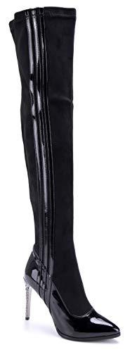 Schuhtempel24 Damen Schuhe Overknee Stiefel Stiefeletten Boots schwarz Stiletto Ziersteine 10 cm High Heels