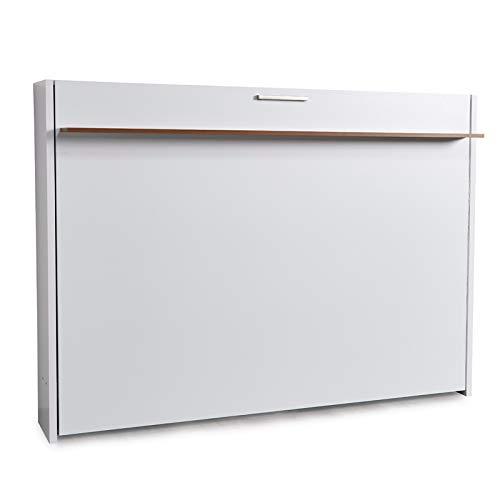 Zata Home Couple 140x190cm Weiß Schrankbett, ausklappbares Wandbett, ideal geeignet als Wandklappbett fürs Gästezimmer, Büro, Wohnzimmer, Schlafzimmer