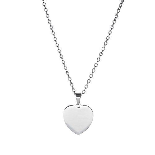 Gravado - collana da donna con ciondolo a cuore - raffinato gioiello in acciaio inossidabile - colore argento - idea regalo romantica per san valentino - regalo di anniversario per lei