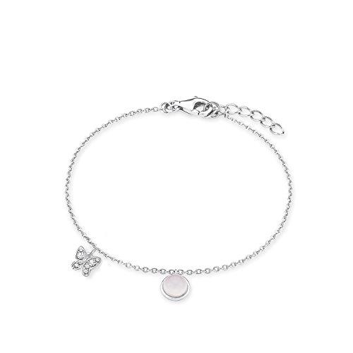 s.Oliver Kinder-Armband Teenager Girls Schmetterling 925 Silber rhodiniert Zirkonia weiß Glas 18 cm - 567664