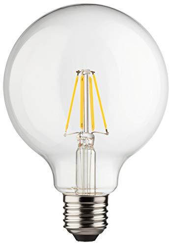 MÜLLER-LICHT 400202 A++, Retro-LED Lampe Miniglobe ersetzt 75 W, Glas,  8 W, E27, weiß, 9,5 x 9,5 x 14 cm dimmbar (Led-licht-lampe 100 Watt)