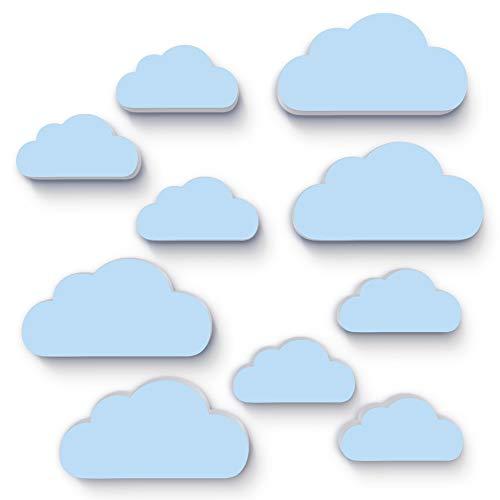 10x Wolken als Kinderzimmer Deko, Wandtattoo, 3D-Wanddeko, Bilder, Kinderposter, Dekoration, Wandtattoo, Bild Babyzimmer 19 x 10cm und 14 x 7 cm, 10mm dicker Kunststoff (M6, hellblau)