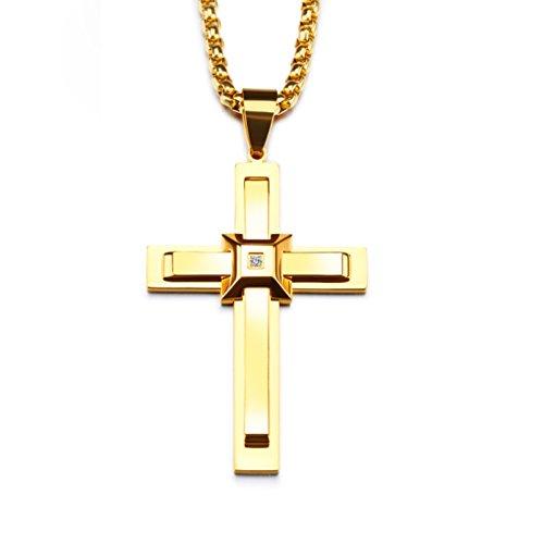 KnSam Kreuzanhänger 18k Gold Vergoldet Halskette Kreuz Zirkonia 60cm Ketten für Herren Damen Gold [Neuheit Halsschmuck]