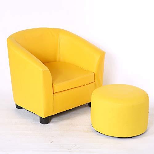 Kindersofa Jungen Leder Kunst Einzel-Mini-Sofa Baby kleines Sofa Netter Kindergarten Lederhocker Kleiner Sessel für Kinder, gelb + Hocker