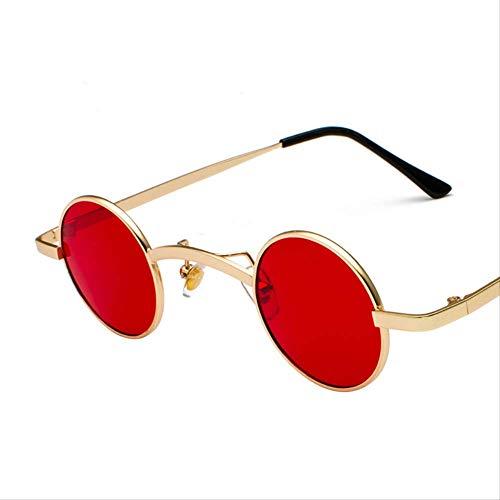 Sonnenbrille Metal-sonnenbrille Männliche Und Weibliche Retro-marke Brille Kleine Rahmen Uv400 Zonnebril Schwarz-Rot