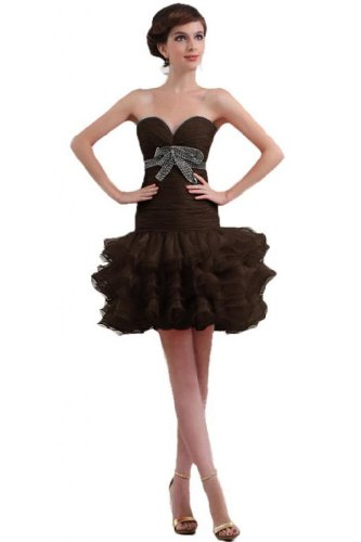 Sunvary nuovo arrivo guaina Sweetheart organza breve cocktail party Dress Chocolate