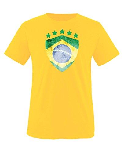 Comedy Shirts - Brasilien Trikot - Wappen: Groß - Wunsch - Kinder T-Shirt - Gelb/Dunkelgrün Gr. 110-116
