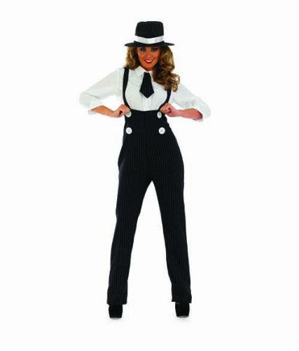 Damen 1920s Nadelstreifen Gangster Hosen Kostüm Kleid Outfit UK 8-30 Übergröße - Schwarz, (Mädchen Outfit Gangster)