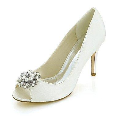 Wuyulunbi@ Scarpe donna raso Primavera Estate della pompa base scarpe matrimonio Stiletto Heel Peep toe Strass imitazione perla per il ricevimento di nozze e la sera. Un