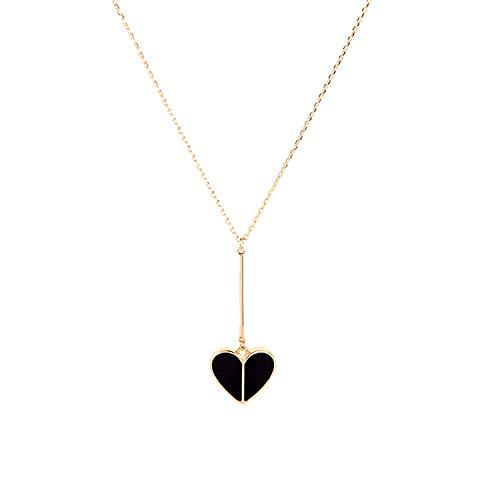 Cool-House-Jewelry shop Koreanische Version des Mädchen Herz Einfacher Pfirsich-Herz-Tropfen-Öl-Halskette weibliche Mode Temperament Hipster-Zubehörs, Schwarz-1