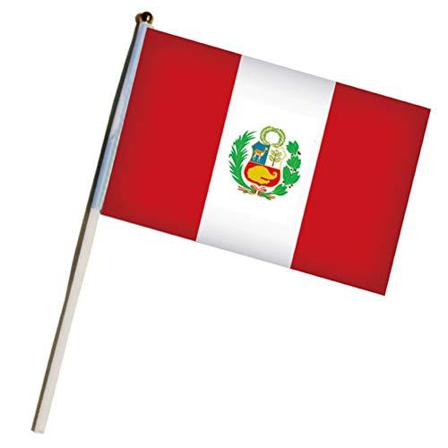 mxdmai 10er Pack 14 * 21cm Peru Stockfahnen Hand Flaggen Kleine Nationalflaggen auf Stick für die WM, Sportvereine, Festival Veranstaltungen