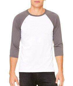 Triblend 3/4 Sleeve Baseball T-Shirt - Farbe: White/Asphalt (Solid) - Größe: L -