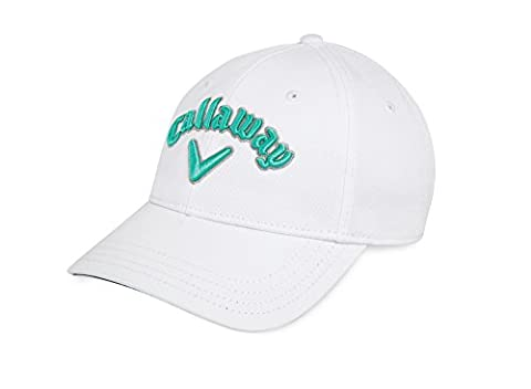 Callaway pour femme 2016Heritage Twill réglable Headwear, femme, White/Teal, taille unique - White Golf Cap