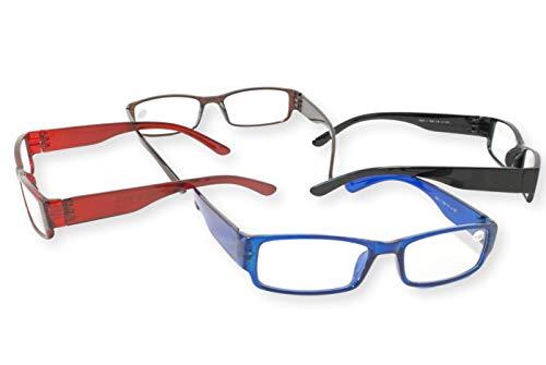 FCN24 GmbH FCN24 GmbH Lesebrille schwarz rot blau braun Damen Herren 2er Set eckig extravagant sehr leicht Lesehilfe Sehhilfe 1.0 1.5 2.0 2.5 3.0 Modell 760, Dioptrien:Dioptrien 1.0, Farbe:Blau