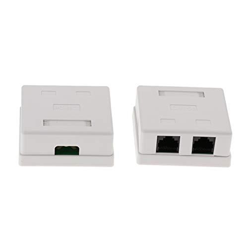 perfk 2 Pack Cat6 RJ45 Oberflächenmontage Box mit 2X RJ45 Buchsen Keystone Jack RJ45 Surface Mount Jack (Mount Box 2-Ports Weiß) - Cat5e Surface Jack