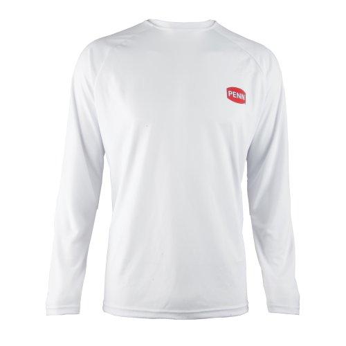 Penn Fishing White Long Sleeve Light Weight Performance LS T Shirt Large L - Longsleeve Penn