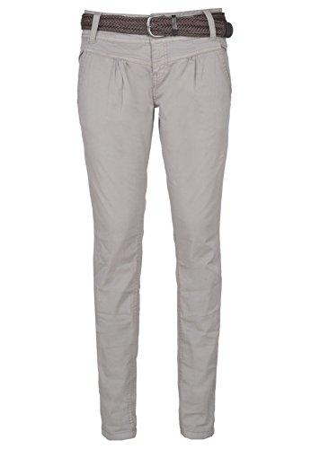 Urban Surface Damen Chino-Hose | Elegante Stoffhose mit Flecht-Gürtel aus bequemer Baumwolle middle-grey M