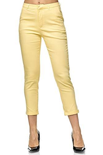 Elara Damen Chino Hose Schicke Slim Fit Stoffhose Chunkyrayan VS19026-71 Yellow-42