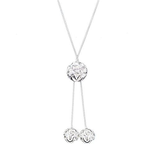 MesBijouxBracelets Y-Ketten 925 Sterling Silber plattiert Modeschmuck von hoher Qualität Damen Weiß Blumen Xénia