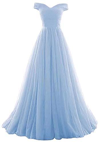 Romantic-Fashion Damen Ballkleid Abendkleid Brautkleid Lang Modell E270-E275 Rüschen Schnürung Tüll DE Hellblau Größe 38