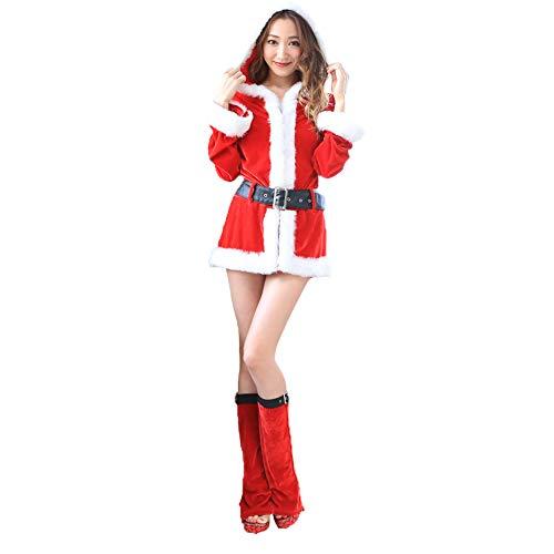 Robin Miss Kostüm - J Robin Weihnachtsmann Damen Kostüm Miss Santa für die Weihnachtsfeier oder Party (Rot)