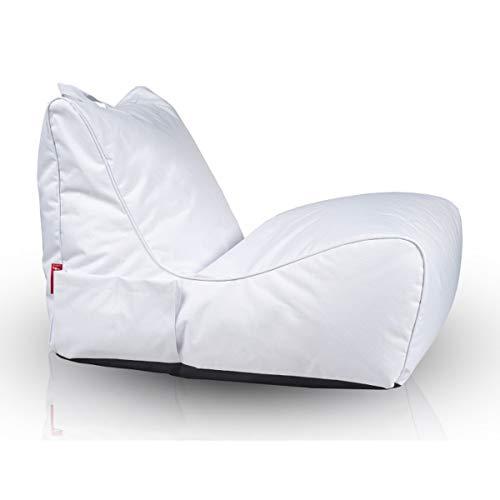 Ecopuf flavio chaise longue poltrona divanetto pouf sacco da esterno in tessuto poliestere con maniglia e tasca porta oggetti puff imbottito in perle di polistirolo eps colore bianco nc3