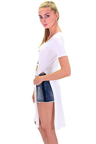 DSguided Damen Longshirt Whatsapp SMS Smylie Äffchen mit seitlichen Schlitzen Süße Affen Emoji Kleid Long Shirt Seitenschlitz Cream