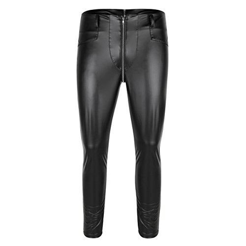 CHICTRY Herren Strumpfhose Wetlook Glanz Leder-optik Leggings schwarz Hosen Unterwäsche Pants mit Zipper Schwarz Medium