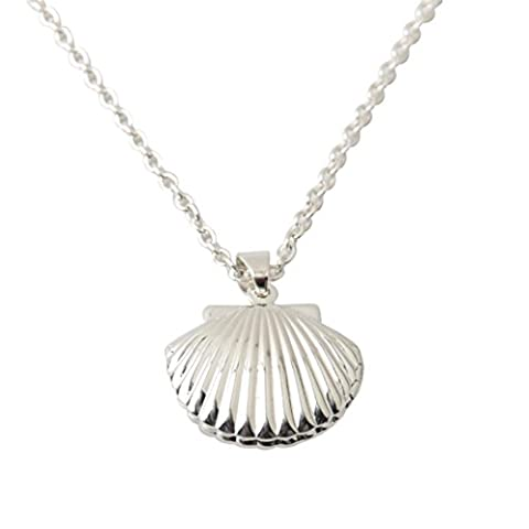 Tonsee Cute Little Sea Shell Mermaid Locket Pendant Necklace Fashion Lady's Gift (Silver)