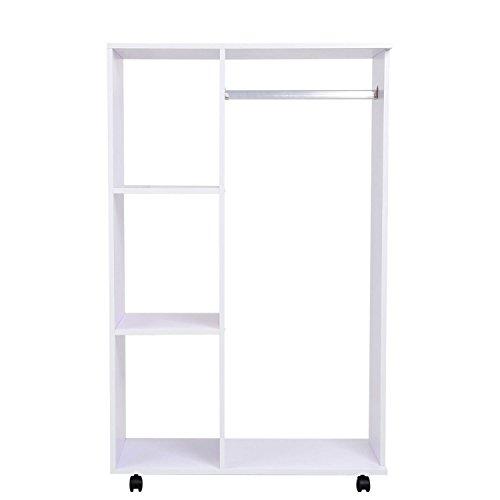 Homcom 02-0604 Kleiderschrank, Holz, weiß, 80 x 40 x 128 cm