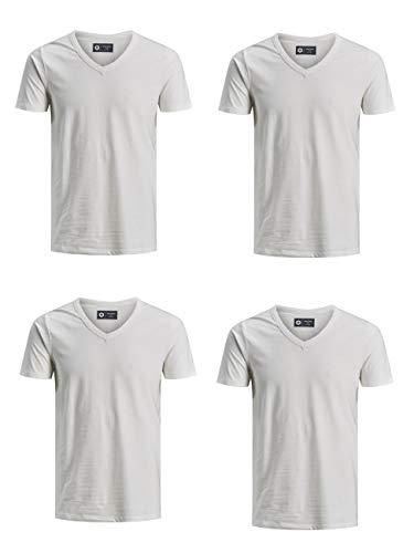 JACK & JONES Herren Basic Kurzarm T-Shirt JJEBASAL Tee V-Neck - Regular Fit - Unifarben - 4er Pack, Größe:S, Farbe:4X Cloud Dancer (12157247)