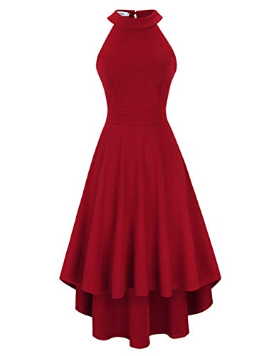 Damen Vintage 50er Cap Sleeves Rockabilly Swing Kleider Retro Hepburn Stil Cocktailkleid,Rot S