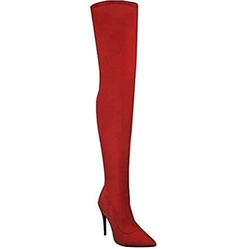 Fashion Thirsty Damen Lycra Lange Overknee Stretch Stiefel Absatz Bali Größe - Leuchtend Rot Lycra, 36
