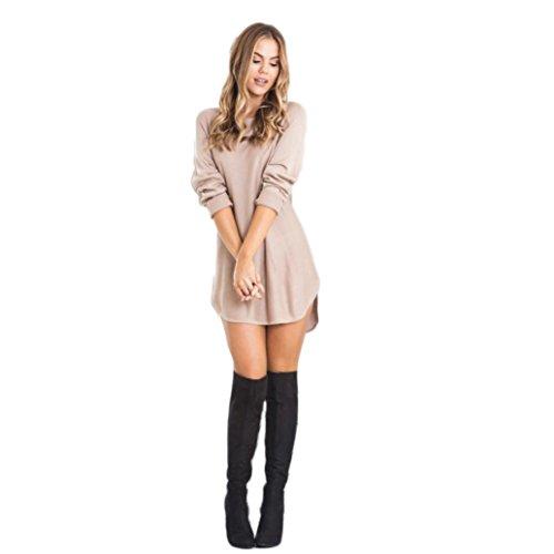 LSAltd Damen Baumwolllange Hülsen Kleid Art und Weise ultra kurzes loses Kleid (Beige, M)