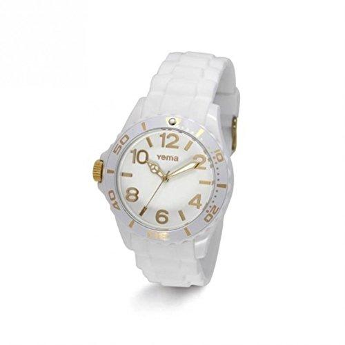 Yema ymhf1196-Montre de Poignet pour homme, bracelet en silicone blanc