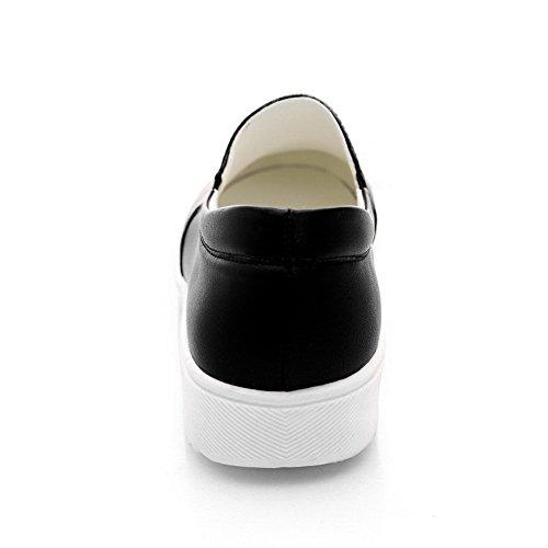 AllhqFashion Femme Rond à Talon Bas Tire Couleurs Mélangées Chaussures Légeres Noir