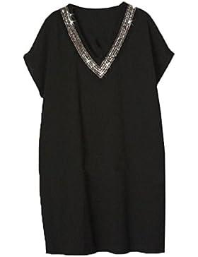 Gogofuture Abito Estive Donna Taglie Forti Vestito V-collo Manica Corta Loose Dress Elegante Vestiti Da Cerimonia...