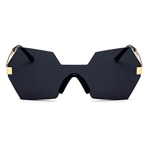 Persönlichkeit farbige linse unregelmäßige Form Einteilige Stil uv-Schutz Sonnenbrille für Frauen Reisen Brille (Farbe : Schwarz)