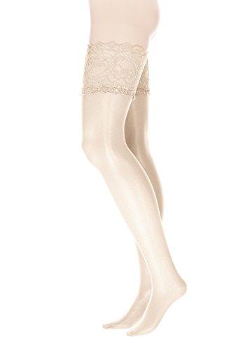 GLAMORY Damen Halterlose Strümpfe Comfort 20 DEN, Champagner ,(Weiß),(Herstellergröße: M-(40-42)) (Braut-strümpfe)