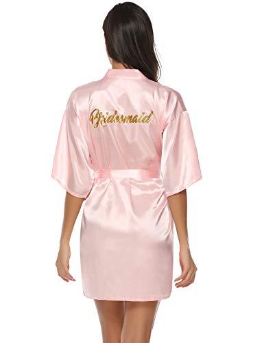 Aibrou Damen Kimono Morgenmantel Kurz Satin Robe Bademantel Nachtwäsche Sleepwear V Ausschnitt mit Gürtel für Party Hochzeit Brautjungfern Rosa S (Damen Bademäntel Knie-länge)