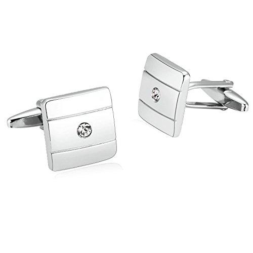 Aooaz 1 Paar / 2 Stück Herren Manschettenknöpfe Edelstahl Quadrat Silber Verlobung Manschettenknopf 1.5 x 1.5cm