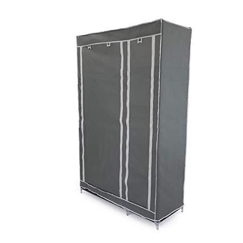 PrimeMatik - Garderobe Stoffschrank Faltschrank Kleiderschrank 110 x 45 x 175 cm grau Doppel mit Rolltoren